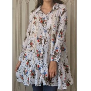 • umgee floral button down babydoll blouse •